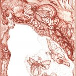feeën sepia-inkt op kaart
