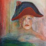 Vrouw met hoed 30-40 cm.